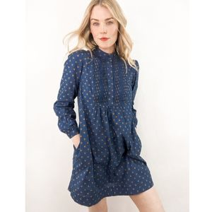 70s Blue Calico Floral Long Sleeve Tunic Dress